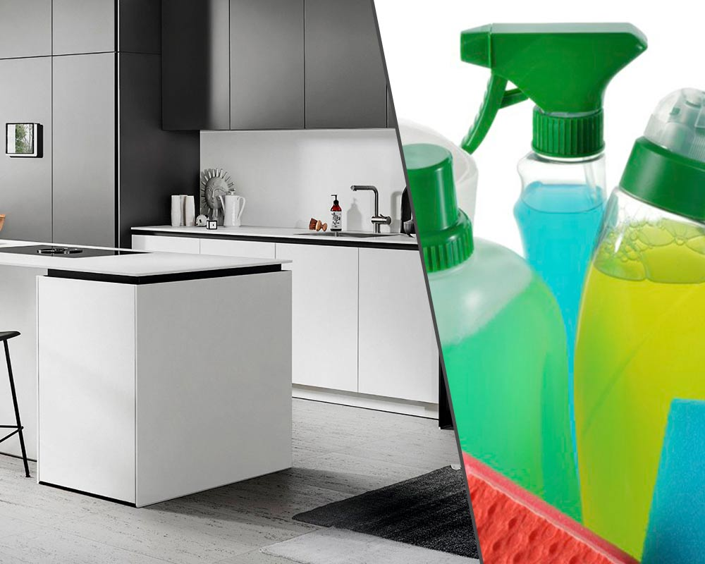 DISINFECTANTS ARE NOT SUITABLE FOR KITCHEN FURNITURE AND SURFACES!